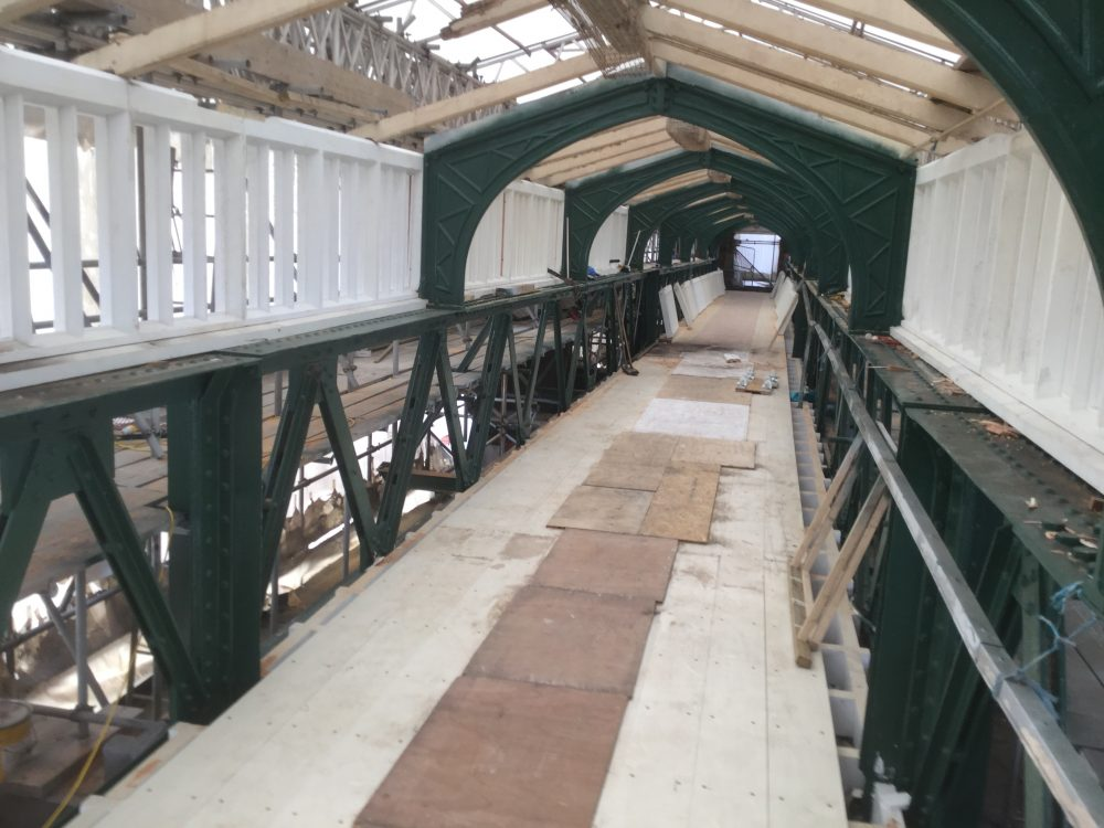 Work to upgrade Shrewsbury Station continues with repairs and the renewal of station canopies almost complete and refurbishment of Dana footbridge.